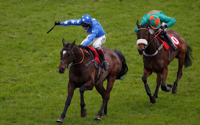 <span>Wait For Me clears the last to win The Bellshill Wins All Novices' Hurdle at Kempton last year</span> <span>Credit: Alan Crowhurst/Getty Images </span>