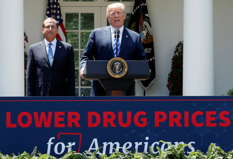 FILE PHOTO: U.S. President Trump delivers a speech about lowering prescription drug prices from the Rose Garden at the White House in Washington