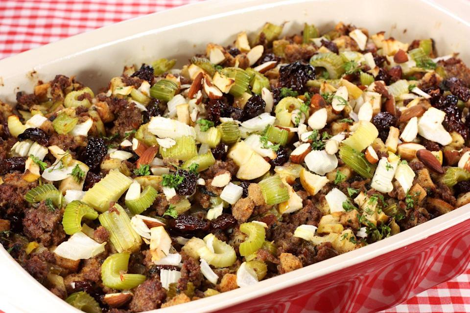 "<p>Sure, California's take on stuffing is generally more fruit- and veggie-packed than the rest of the country's, but they're still hyped on stuffing. We'll allow it.</p><p>Get the <a href=""https://www.delish.com/cooking/recipe-ideas/a55387/classic-homemade-turkey-stuffing-recipe/"" rel=""nofollow noopener"" target=""_blank"" data-ylk=""slk:recipe"" class=""link rapid-noclick-resp"">recipe</a>.</p>"
