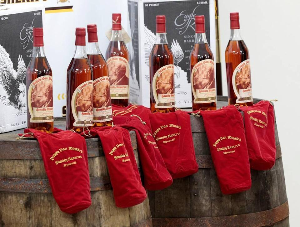 Several bottles of Pappy Van Winkle bourbons were recovered after thefts from the distillery were reported in 2015. Nine people were indicted and are charged with engaging in organized crime as members of a criminal syndicate. The theft targeted the Buffalo Trace and Wild Turkey distilleries and included Pappy Van Winkle bourbon. Photo by Charles Bertram   Staff