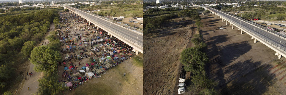 This photo combination shows an area where migrants, many from Haiti, were encamped along the Del Rio International Bridge on Tuesday, Sept. 21, 2021, and a photo showing the area after it was cleared off by authorities, Saturday, Sept. 25, 2021, in Del Rio, Texas. (AP Photo/Julio Cortez)