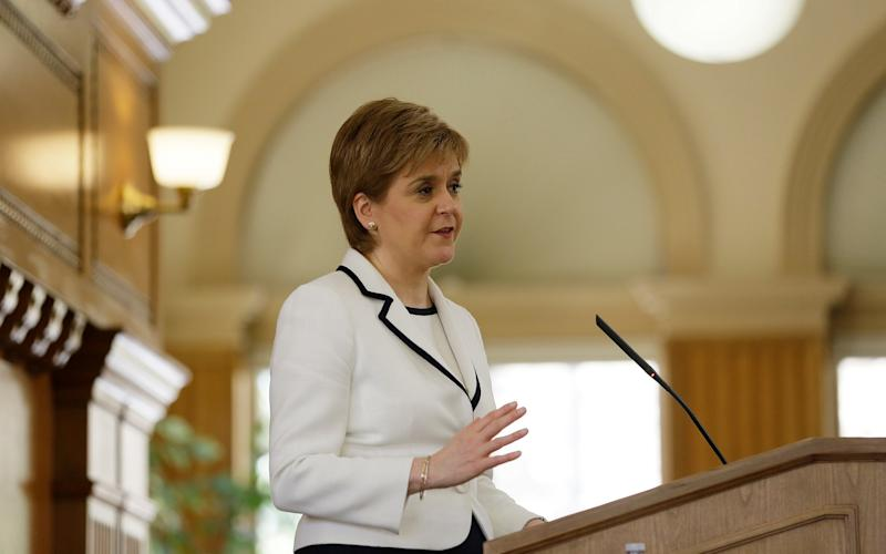 Nicola Sturgeon, speaking at Stanford University in California on Tuesday - Copyright 2017 The Associated Press. All rights reserved.