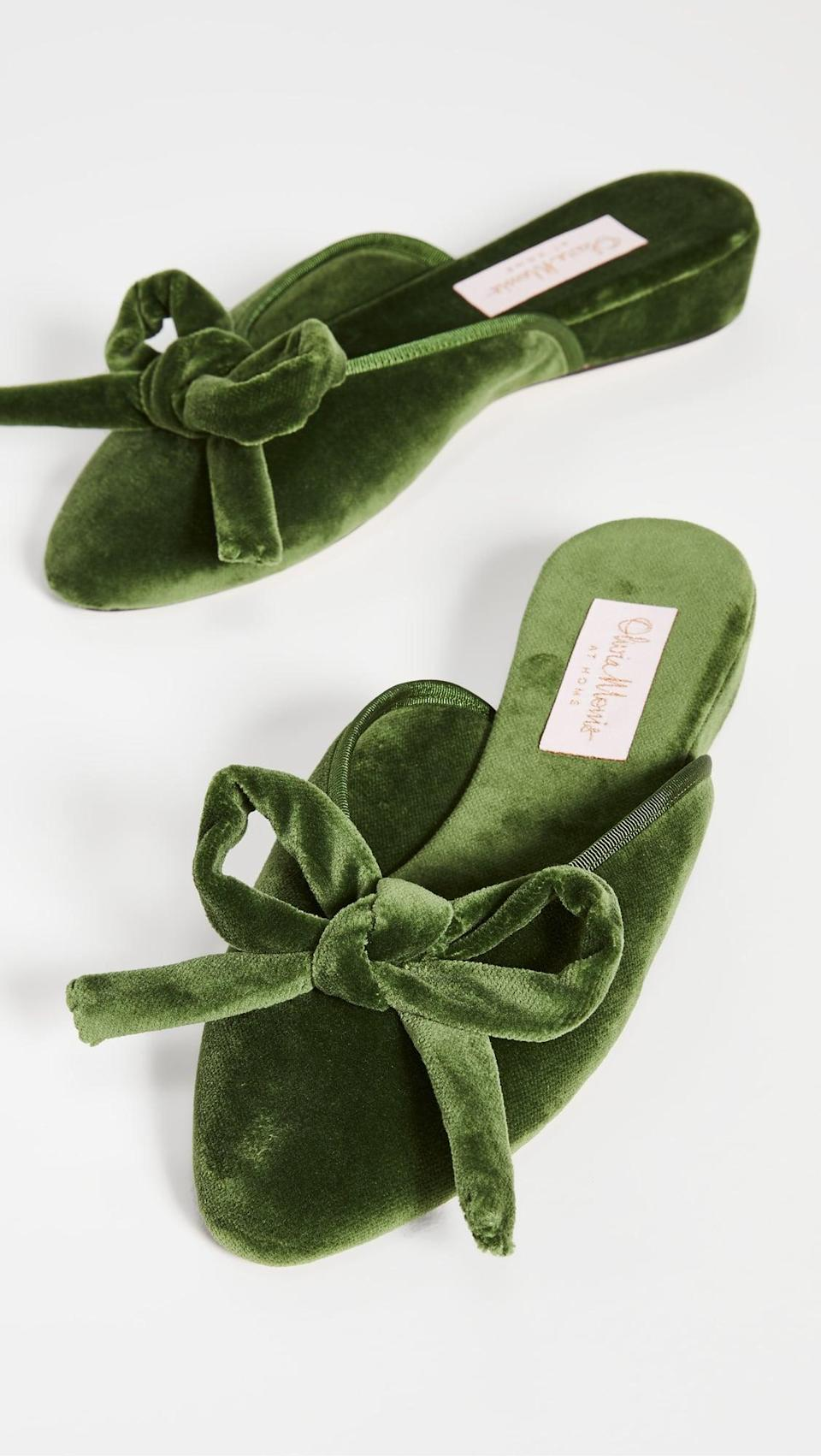 <p><span>Olivia Morris at Home Daphne Bow Slippers</span> ($305)</p>