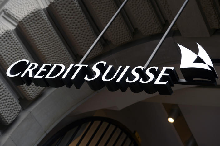 """FILE - This Oct. 21, 2015, file photo shows the logo of the Swiss bank Credit Suisse, in Zurich, Switzerland. Switzerland's financial markets authority said Thursday it is looking into possible penalties against Credit Suisse after the top-drawer bank announced """"significant losses"""" linked to a U.S.-based hedge fund. (Walter Bieri/Keystone via AP, file)"""