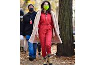 """<p>Photographed off-duty filming the show back in December, we soon learned that this red utility jumpsuit features in episode one of Only Murders In The Building. The jumpsuit comes courtesy of MKT Studios and the yellow chelsea-style boots are the aforementioned utility boots by Stella McCartney.</p><p><a class=""""link rapid-noclick-resp"""" href=""""https://go.redirectingat.com?id=127X1599956&url=https%3A%2F%2Fwww.farfetch.com%2Fuk%2Fshopping%2Fwomen%2Fstella-mccartney-utility-boots-item-13942019.aspx&sref=https%3A%2F%2Fwww.elle.com%2Fuk%2Ffashion%2Fcelebrity-style%2Fg37396246%2Fselena-gomez-only-murders-in-the-building%2F"""" rel=""""nofollow noopener"""" target=""""_blank"""" data-ylk=""""slk:SHOP NOW"""">SHOP NOW</a> Stella McCartney, Utility boots, now £347</p>"""