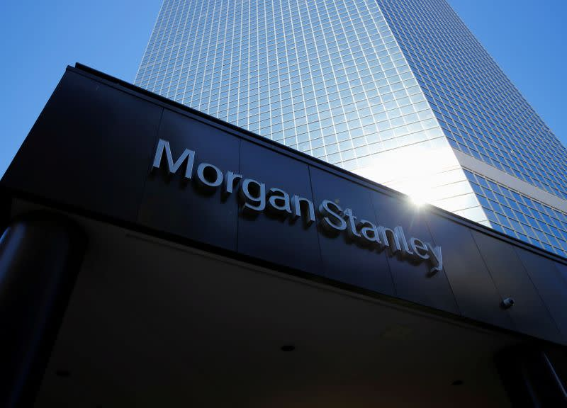 FILE PHOTO: The corporate logo of financial firm Morgan Stanley is pictured on a building in San Diego
