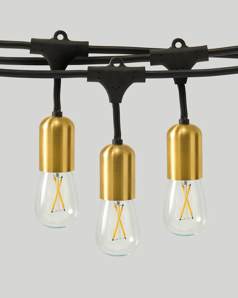 """<p>For sophisticated lights that are tough enough to withstand the <a href=""""https://www.marthastewart.com/1523576/decorating-your-home-holidays-early-makes-you-happier"""" rel=""""nofollow noopener"""" target=""""_blank"""" data-ylk=""""slk:cold-weather elements"""" class=""""link rapid-noclick-resp"""">cold-weather elements</a>, look no further than this heavy-duty option. Encased in commercial-grade WeatherTite cables, these Edison-style bulbs are durable enough to use outside, and boast brass finished sockets to boot.</p> <p><strong><em>Shop Now: </em></strong><em>Brightech Glow Heavy Duty String Lights, $49.99, <a href=""""https://brightech.com/products/glow-heavy-duty-string-lights"""" rel=""""nofollow noopener"""" target=""""_blank"""" data-ylk=""""slk:brightech.com"""" class=""""link rapid-noclick-resp"""">brightech.com</a></em><em>.</em></p>"""
