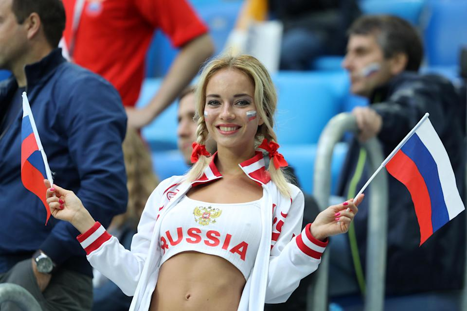 <p>A Russia fan enjoys the pre match atmosphere prior to the 2018 FIFA World Cup Russia group A match between Russia and Egypt at Saint Petersburg Stadium on June 19, 2018 in Saint Petersburg, Russia. (Photo by Richard Heathcote/Getty Images) </p>