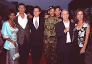 <p>The whole<em> Independence Day</em> gang: Vivica Fox, Jeff Goldblum, Bill Pullman, Will Smith, Harry Connick Jr., director Roland Emmerich, and Margaret Colin.</p>