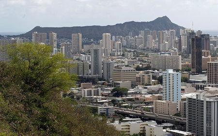 FILE PHOTO: A view of Honolulu, Hawaii is seen from the National Memorial Cemetery of the Pacific November 9, 2011.     REUTERS/Chris Wattie/File Photo