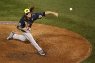 Milwaukee Brewers relief pitcher Josh Hader delivers during the ninth inning of a baseball game against the Chicago Cubs, Friday, Aug. 14, 2020, in Chicago. (AP Photo/Jeff Haynes)
