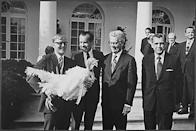 """<p>Here's President Nixon in 1969, hanging out with a Thanksgiving turkey in front of the West Wing colonnade. The bird got lucky: Nixon gave it a reprieve. According to the <a href=""""https://www.whitehouse.gov/blog/2011/11/23/definitive-history-presidential-turkey-pardon"""" rel=""""nofollow noopener"""" target=""""_blank"""" data-ylk=""""slk:White House blog"""" class=""""link rapid-noclick-resp"""">White House blog</a>, it was sent to a petting farm near Washington, D.C. <i>(Photo: Nixon Presidential Library and Museum/NARA)</i></p>"""