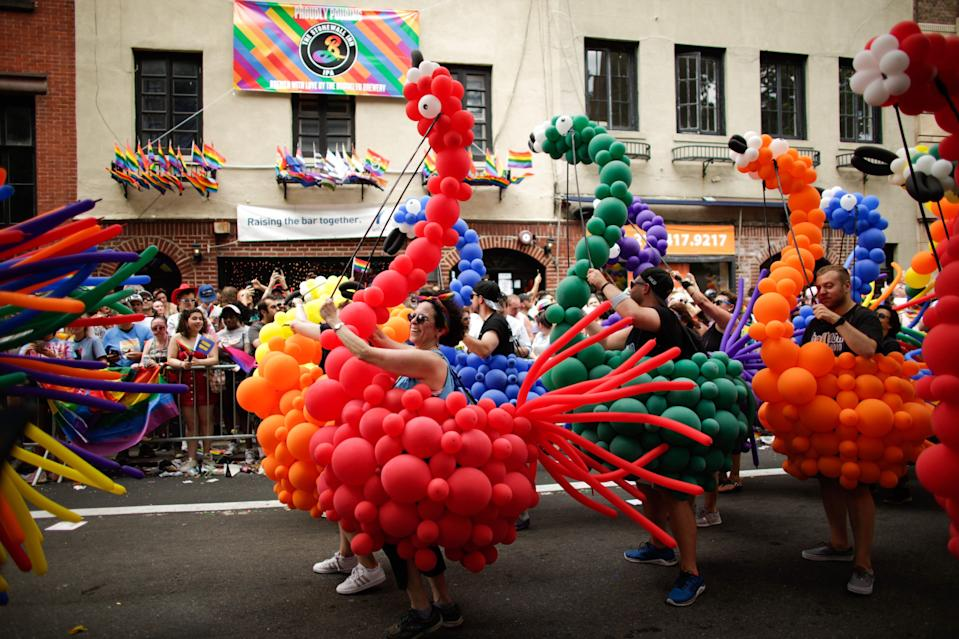 People participate in the NYC Pride March on June 30, 2019, in New York City.