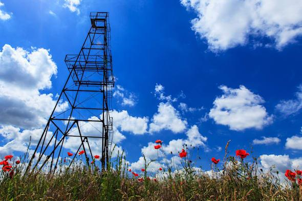 oil and gas rig profiled on...