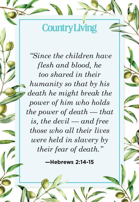 """<p>""""Since the children have flesh and blood, he too shared in their humanity so that by his death he might break the power of him who holds the power of death—that is, the devil— and free those who all their lives were held in slavery by their fear of death.""""</p>"""