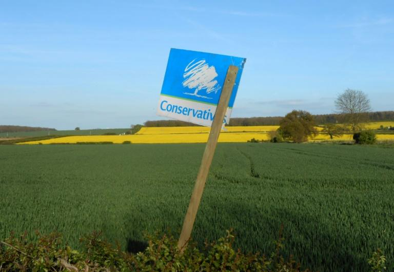A Conservative party sign pictured on farmland outside Retford, Nottinghamshire on April 23, 2017