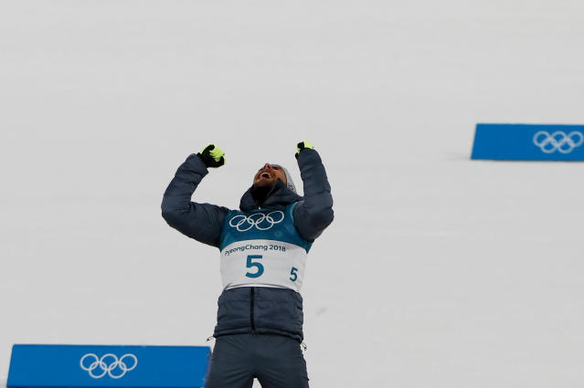 Nordic Combined Events - Pyeongchang 2018 Winter Olympics - Men's Individual 10 km Final - Alpensia Cross-Country Skiing Centre - Pyeongchang, South Korea - February 20, 2018 - Gold medalist, Johannes Rydzek of Germany celebrates during the victory ceremony. REUTERS/Dominic Ebenbichler