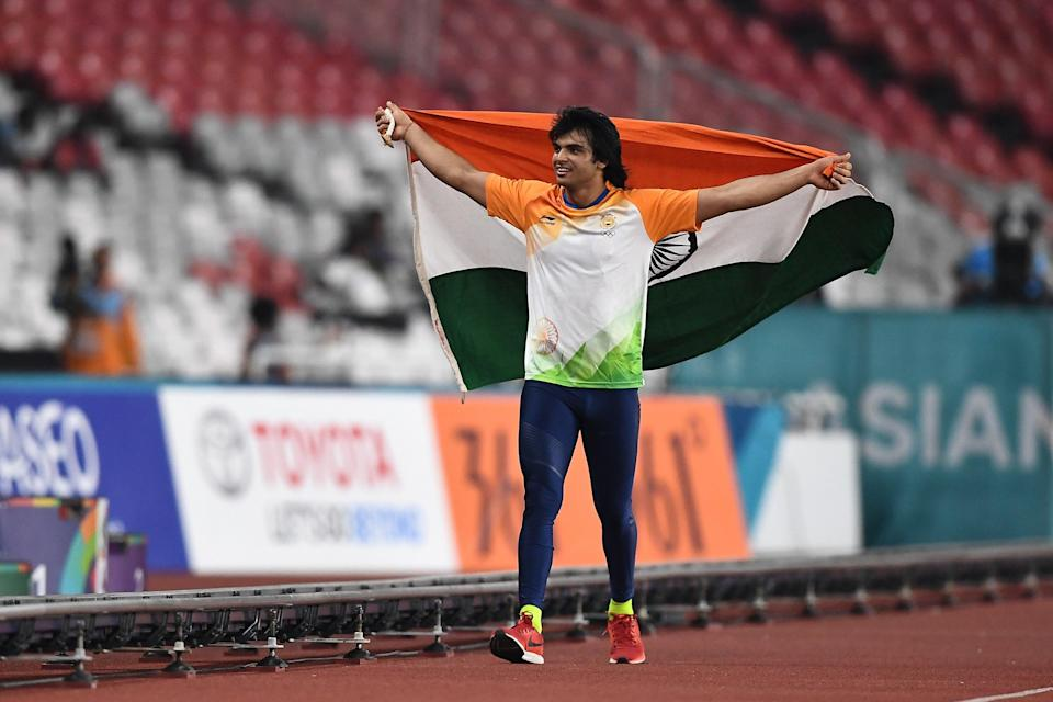 Neeraj Chopra of India celebrates victory after winning the Men's Javelin Throw on day nine of the Asian Games in 2018 (Getty Images)