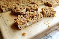 """<p>Ditch the packaged granola bars in favor of this homemade version. You can use whatever nuts you like—these bars are totally customizable! Plus, they're perfect for taking on the go or packing in your kids' backpacks for a healthy snack.</p><p><strong><a href=""""https://www.thepioneerwoman.com/food-cooking/recipes/a10770/granola-bars/"""" rel=""""nofollow noopener"""" target=""""_blank"""" data-ylk=""""slk:Get the recipe."""" class=""""link rapid-noclick-resp"""">Get the recipe.</a></strong></p><p><strong><a class=""""link rapid-noclick-resp"""" href=""""https://go.redirectingat.com?id=74968X1596630&url=https%3A%2F%2Fwww.walmart.com%2Fsearch%2F%3Fquery%3Dpioneer%2Bwoman%2Bchefs%2Bknife&sref=https%3A%2F%2Fwww.thepioneerwoman.com%2Ffood-cooking%2Fmeals-menus%2Fg34922086%2Fhealthy-breakfast-ideas%2F"""" rel=""""nofollow noopener"""" target=""""_blank"""" data-ylk=""""slk:SHOP CHEFS KNIVES"""">SHOP CHEFS KNIVES</a><br></strong></p>"""