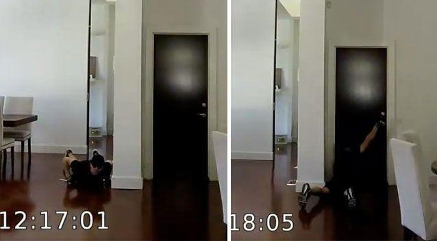The man slithers along the floor and even tries opening a door from the ground. Source: Victoria Police