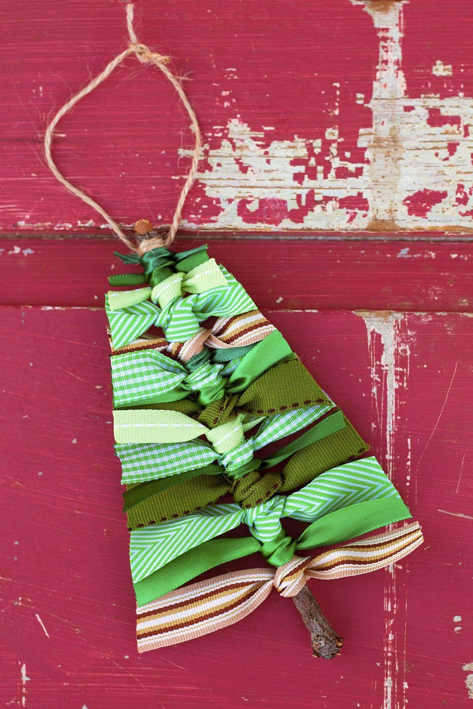 "<p>Never <em>leaf </em><span class=""redactor-invisible-space"">scrap ribbon lying around again.</span></p><p><strong>Get the tutorial at <a href=""https://www.firefliesandmudpies.com/scrap-ribbon-tree-ornaments/"" rel=""nofollow noopener"" target=""_blank"" data-ylk=""slk:Fireflies and Mud Pies"" class=""link rapid-noclick-resp"">Fireflies and Mud Pies</a>.</strong></p>"