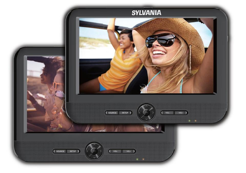 """<p>Keep little ones entertained on-the-go with these <a href=""""https://www.popsugar.com/buy/Sylvania-7-Dual-Screen-Portable-DVD-Players-414172?p_name=Sylvania%207%22%20Dual%20Screen%20Portable%20DVD%20Players&retailer=walmart.com&pid=414172&price=80&evar1=geek%3Aus&evar9=26294675&evar98=https%3A%2F%2Fwww.popsugartech.com%2Fphoto-gallery%2F26294675%2Fimage%2F46729086%2FSylvania-7-Dual-Screen-Portable-DVD-Players&list1=shopping%2Cgadgets%2Choliday%2Cgift%20guide%2Choliday%20living%2Ctech%20gifts%2Cgifts%20under%20%24100&prop13=mobile&pdata=1"""" class=""""link rapid-noclick-resp"""" rel=""""nofollow noopener"""" target=""""_blank"""" data-ylk=""""slk:Sylvania 7&quot; Dual Screen Portable DVD Players"""">Sylvania 7"""" Dual Screen Portable DVD Players</a> ($80).</p>"""
