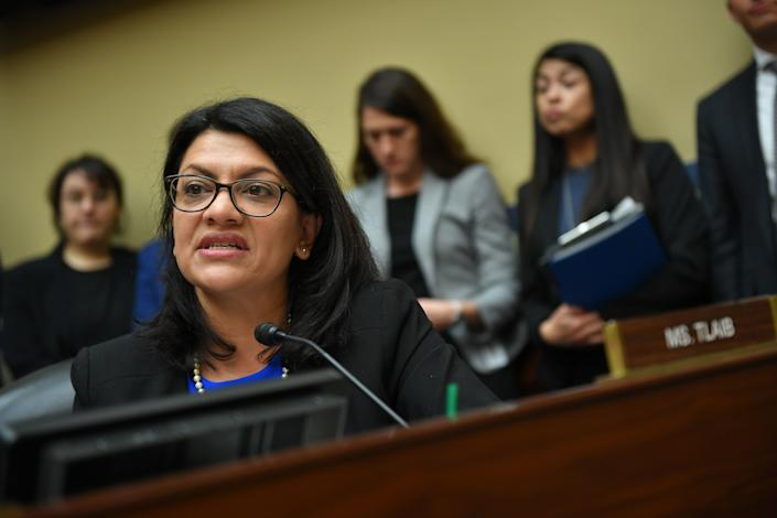 Rep. Rashida Tlaib, D-Mich., questions Michael Cohen during his hearing before the House Oversight and Reform Committee on Capitol Hill in Washington, D.C., on Wednesday. (Photo: Mandel Ngan/AFP/Getty Images)