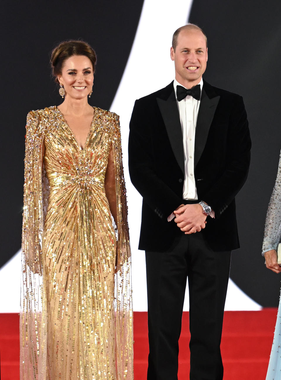 Kate Middleton and Prince William pose on the red carpet for James Bond