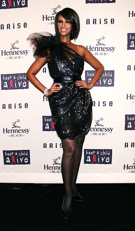 """Iman co-hosted the Black Ball in a sparkling frock by Thakoon. ST/<a href=""""http://www.splashnewsonline.com/"""" target=""""new"""">Splash News</a> - October 15, 2009"""