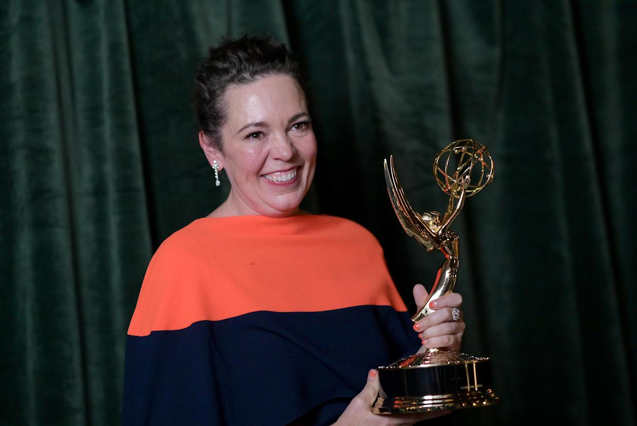 LONDON, ENGLAND - SEPTEMBER 19:  Olivia Colman with her Emmy award for 'Outstanding Lead Actress for a Drama Series', at the