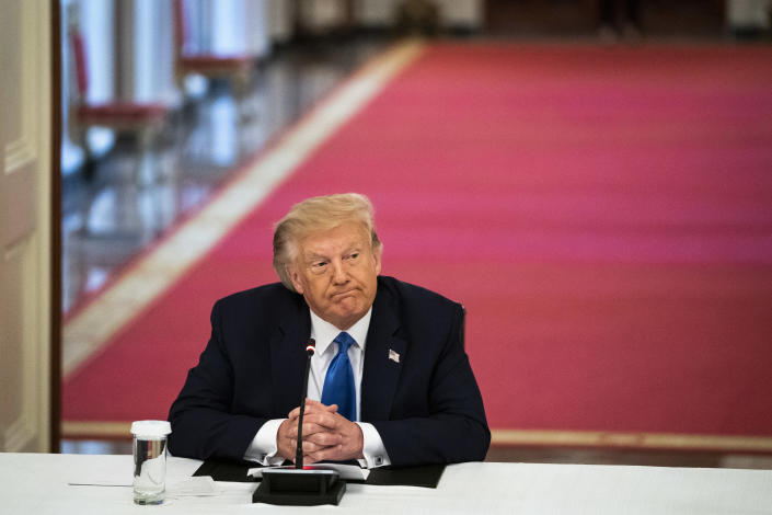WASHINGTON, DC - JULY 13: President Donald J. Trump participates in a roundtable with stakeholders positively impacted by law enforcement in the East Room the White House on Monday, July 13, 2020 in Washington, DC. (Photo by Jabin Botsford/The Washington Post via Getty Images)