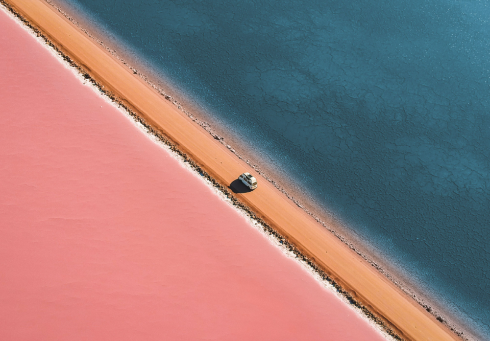 Lake MacDonnell turns pink. Photo: Supplied/Lyndon O'Keefe