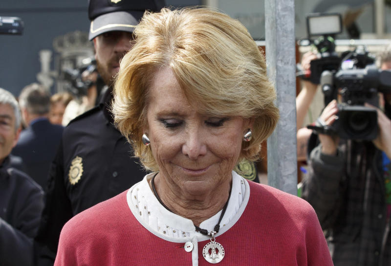 SAN FERNANDO DE HENARES, SPAIN - APRIL 20: Esperanza Aguirre leaves the National Court where she appeared as a witness in the Gurtel case on April 20, 2017 in San Fernando de Henares, near Madrid, Spain. Former president of Madrid region and former president of Madrid's Popular Party Esperanza Aguirre was called to court as a witness in the Gurtel case. The Gurtel case is one of Spain biggest corruption cases in recent history involving members of Spain's ruling Popular Party and prominent businessmen. Spainish Prime Minister Mariano Rajoy is also expected to be called as a witness in the case. (Photo by Pablo Blazquez Dominguez/Getty Images)