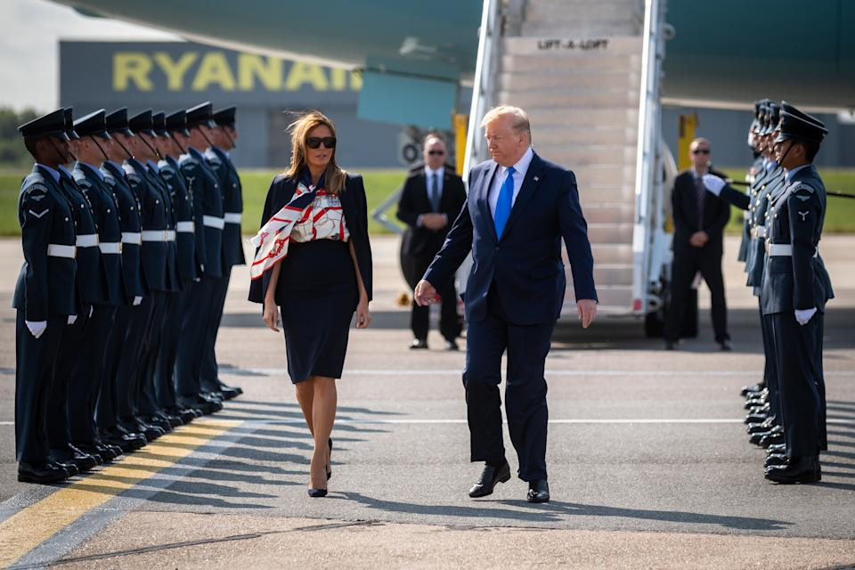 The US President and First Lady received a full military welcome for their three day trip. (SWNS)