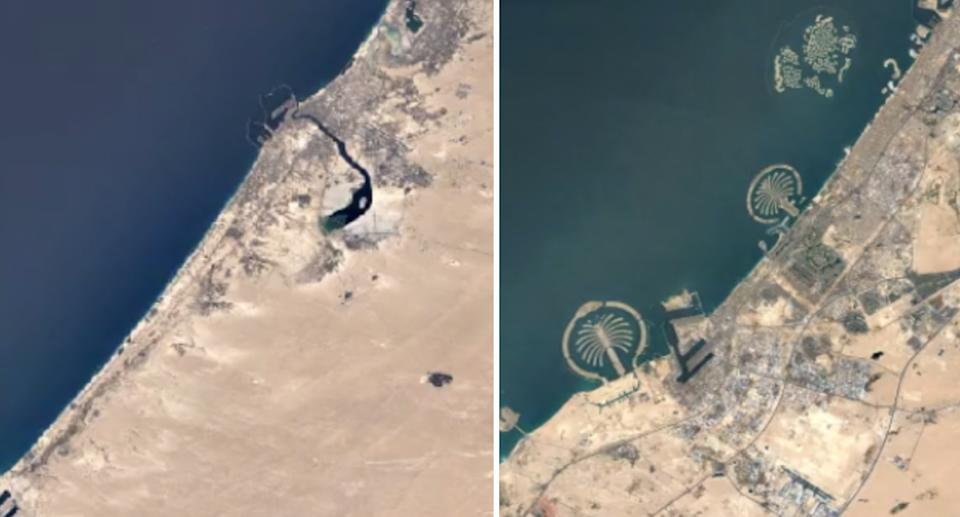 Images on the new Timelapse tool show coastal development in Dubai. Source: Google Earth