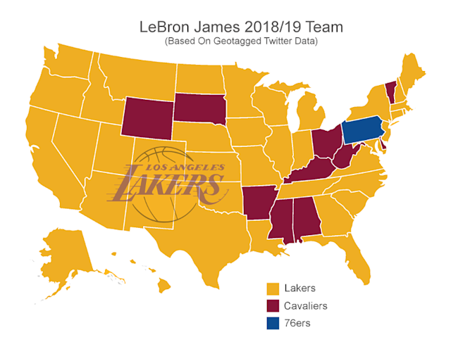A visualization of where U.S.-based Twitterers think LeBron will be going in free agency. (Image via sportsbetting.ag)