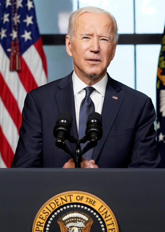 US President Joe Biden speaks from the Treaty Room in the White House as he announces a US withdrawal from Afghanistan