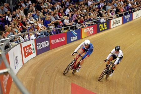 2018 European Championships - Track Cycling, Women's Omnium, 20km Points Race - Emirates Arena, Glasgow, Britain - August 6, 2018 - Katie Archibald of Great Britain and Kirsten Wild of the Netherlands in action. REUTERS/Russell Cheyne TPX IMAGES OF THE DAY