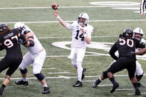 Penn State quarterback Sean Clifford throws a pass during the first half of an NCAA college football game against Rutgers on Saturday, Dec. 5, 2020, in Piscataway, N.J. (AP Photo/Adam Hunger)