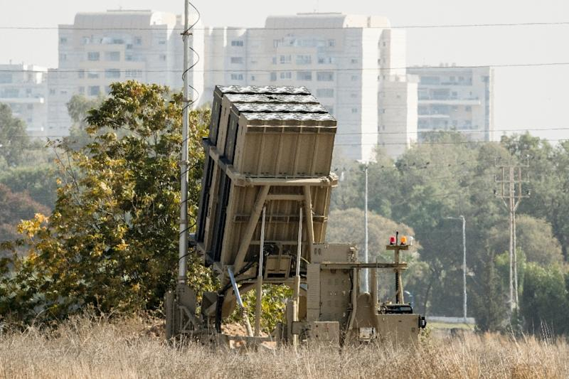 A file picture taken on November 14, 2017 shows an Iron Dome defence systemdeployed in Or Yehuda in central Israel