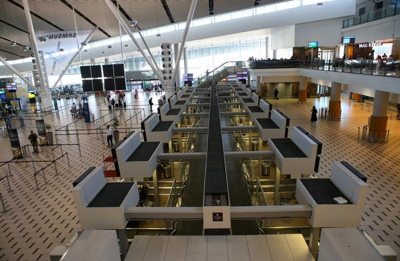 Deserted counters are seen as South African Airways (SAA) workers downed tools on Friday in a strike over wages and job cuts, at Cape Town International Airport