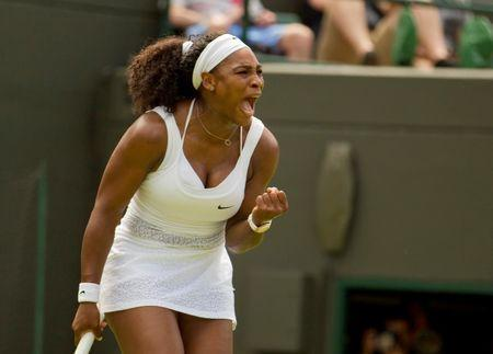 Jun 29, 2015; London, United Kingdom; Serena Williams (USA) reacts during her match against Margarita Gasparyan (RUS) on day one of The Championships Wimbledon at the AELTC. Mandatory Credit: Susan Mullane-USA TODAY Sports