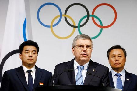 International Olympic Committee (IOC) President Thomas Bach speaks to the press after a meeting with the National Olympic Committee (NOC) of the Republic of Korea (ROK), the NOC of the Democratic People's Republic of Korea (DPRK), and a delegation from the PyeongChang 2018 Organising Committee (POCOG) at the IOC headquarters in Lausanne, Switzerland, January 20, 2018. REUTERS/Pierre Albouy