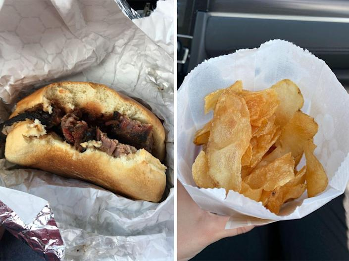 A brisket sandwich and chips from Buc-ee's.