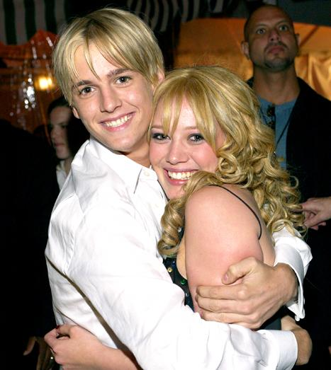 Aaron Carter and Hilary Duff at the The El Capitan Theater in Hollywood for The Lizzie McGuire Movie premiere after party in April 26, 2003