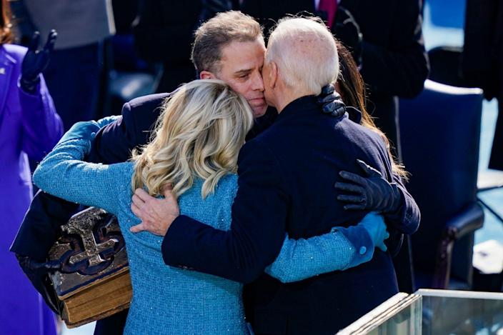 <p>The family shared an emotional embrace after the big moment.</p>