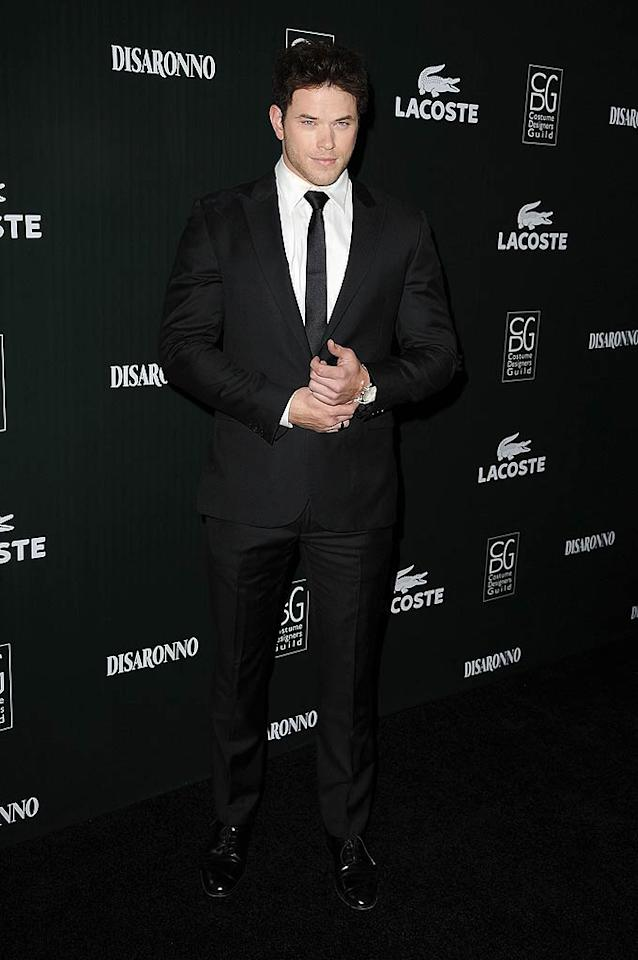 """""""Twilight"""" hottie Kellan Lutz, who was smart in a dapper suit paired with a black tie, presented the Best Fantasy Film Costume Designer Guild Award to costume designer Colleen Atwood for """"Alice In Wonderland."""" Steve Granitz/<a href=""""http://www.wireimage.com"""" target=""""new"""">WireImage.com</a> - February 22, 2011"""