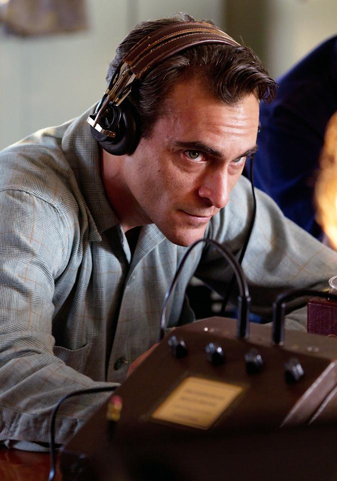 """Look closely during the scene in """"The Master"""" where Joaquin Phoenix is challenged not to blink -- or else he'll have to restart a series of questions. He clearly blinks, with no penalty."""
