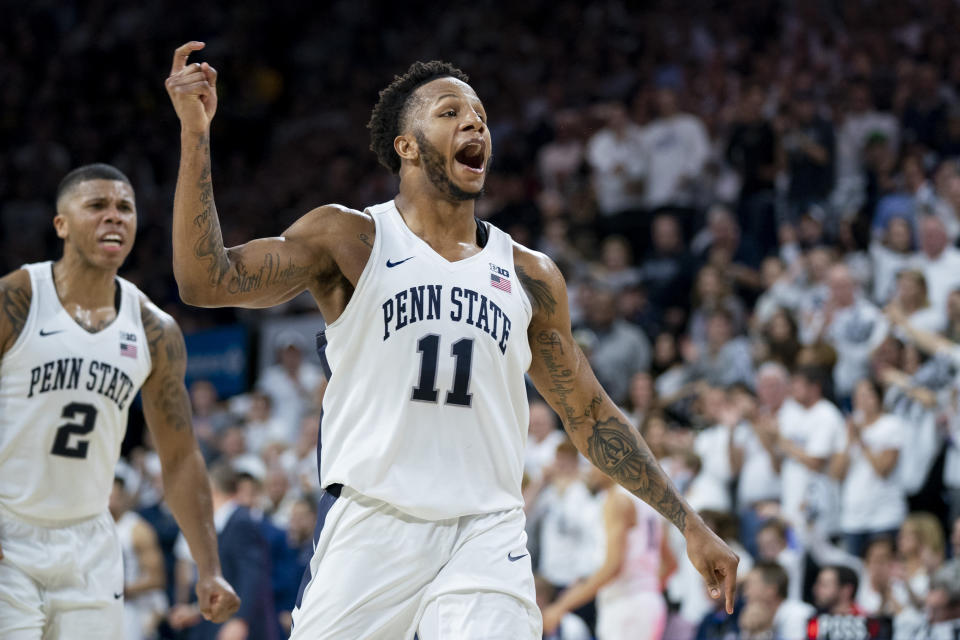 Penn State's Lamar Stevens reacts to his basket during the second half of an NCAA college basketball game against Iowa Saturday, Jan. 4, 2020, in Philadelphia. Penn State won 89-86. (AP Photo/Chris Szagola)