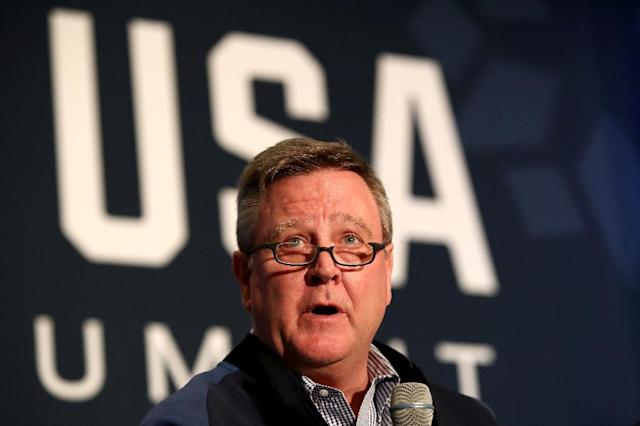 United States Olympic Committee chief executive Scott Blackmun faced stinging criticism for his handling of the case involving gymnastics team doctor Larry Nassar (AFP Photo/Maxx Wolfson)